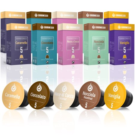 Gourmesso Flavor Bundle - 100 Coffee Capsules Compatible with Nespresso Machines - 100% Fair Trade | Includes Vanilla Caramel Chocolate Hazelnut Coconut Flavored Espresso Variety Pack