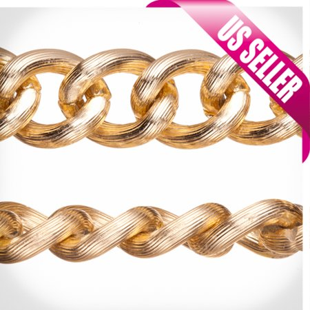 Aluminum Chain, Gold-Finished, Silk Stripe Textured Links, 5.5mm Wire 21x17.5mm Sold per pkg of 5Ft Stripe Chain Link