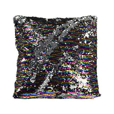 Couture Home Collection Haute DxE40cor Reversible Sequin Fascinating Silver Sequin Decorative Pillow