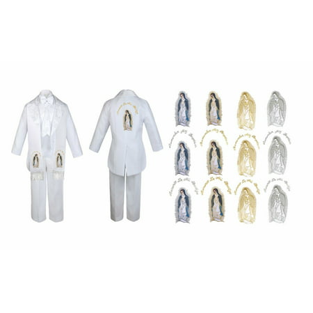 New Born Boy Christening Baptism White Tail Tux Maria Mary Stole & Back Sm-7