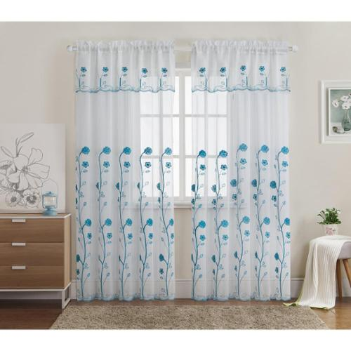 VCNY  Ursula Embroidered Curtain Panel with Attached Valance
