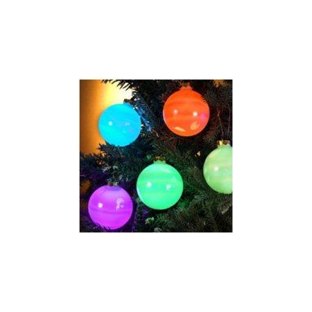Set Of 6 Color Changing Led Glass Ball Ornament Christmas