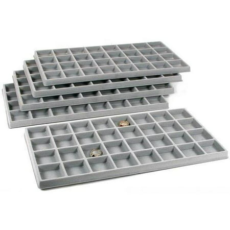 5 Gray 32 Slot Coin Jewelry Showcase Display Tray Inserts - Jewelry Trays Stackable