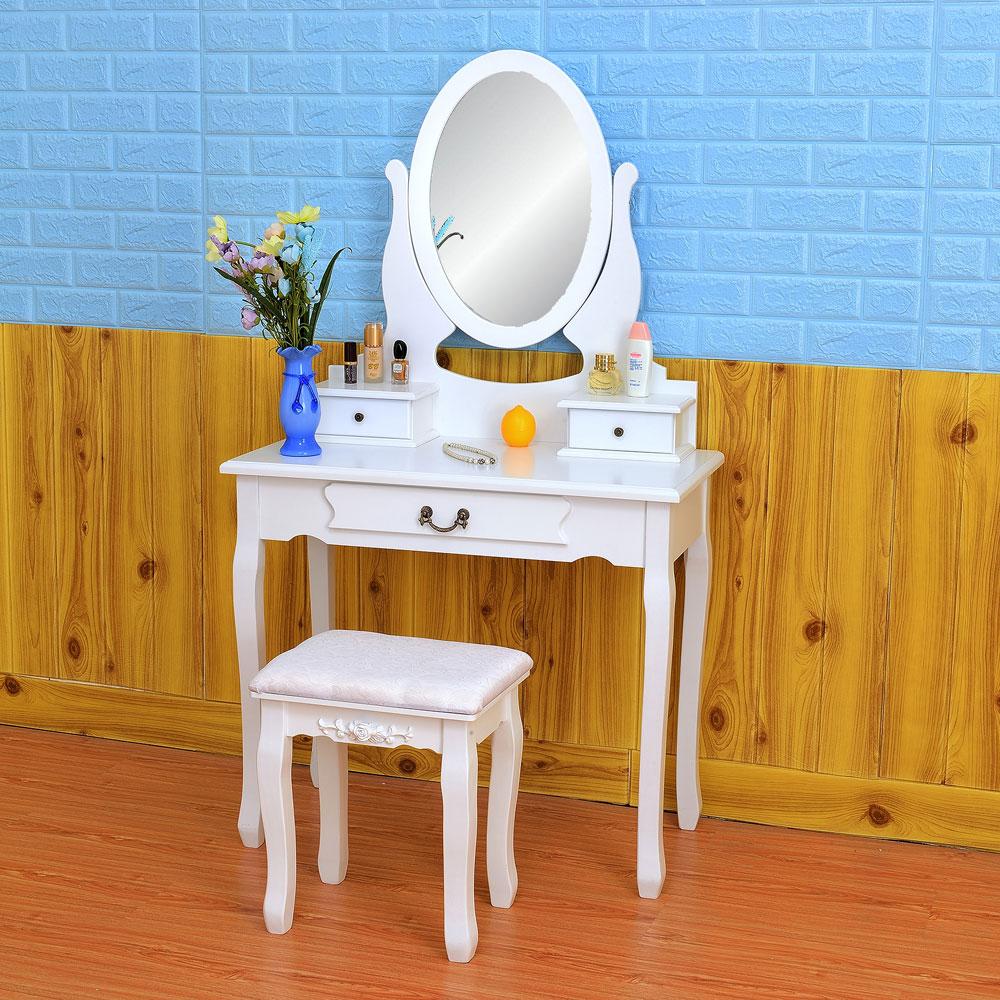 Ktaxon Makeup Desk Set White MDF Dressing Table 360-Degre...
