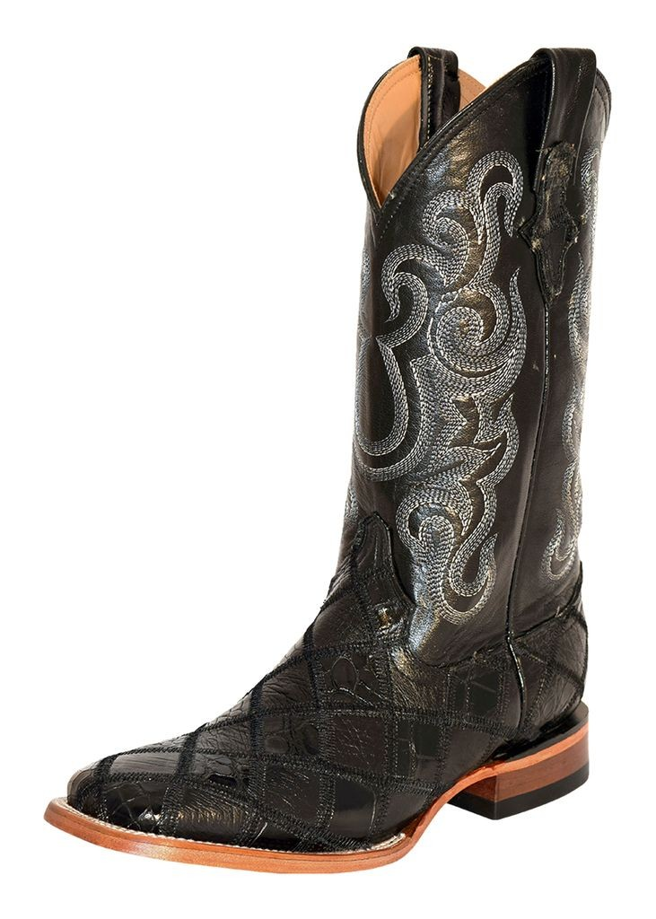 Ferrini Western Boots Mens Ostrich Gator Patchwork Black 11393-04