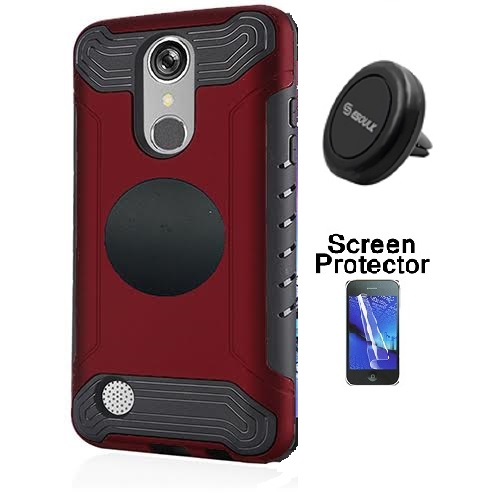 LG Rebel 3 Protective Case, Phone Case for Tracfone LG Rebel 3 Prepaid Smartphone, Screen Protector + Universal Air Vent Magnetic Car Mount Phone Holder (Red)