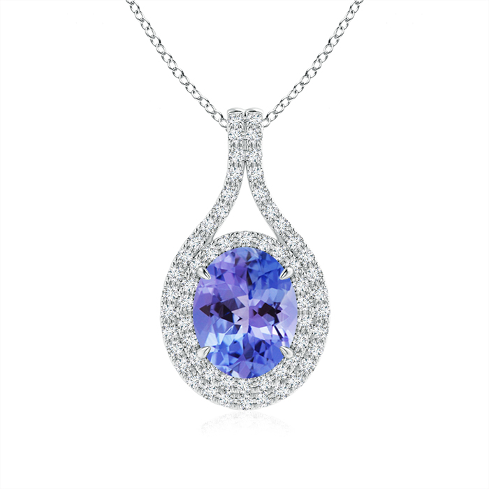 Mother's Day Jewelry Necklace Oval Tanzanite Double Halo Pendant Necklace in 950 Platinum (9x7mm Tanzanite)... by Angara.com