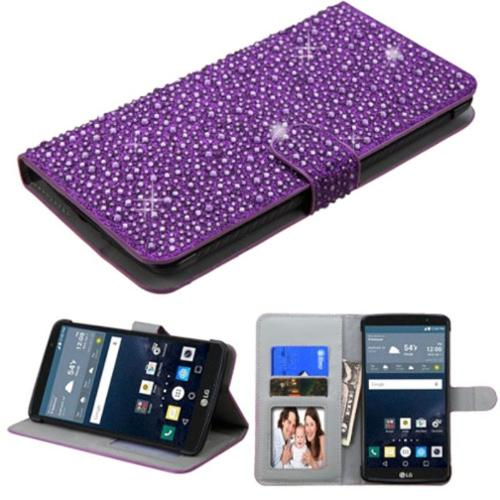 Insten Leather Bling Cover Case with Card holder & Photo Display For LG G Stylo - Purple