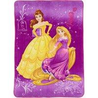 Disney Princesses Plush Blanket, Kids Bedding, 62?x90?, Purple, Belle and Repunzel