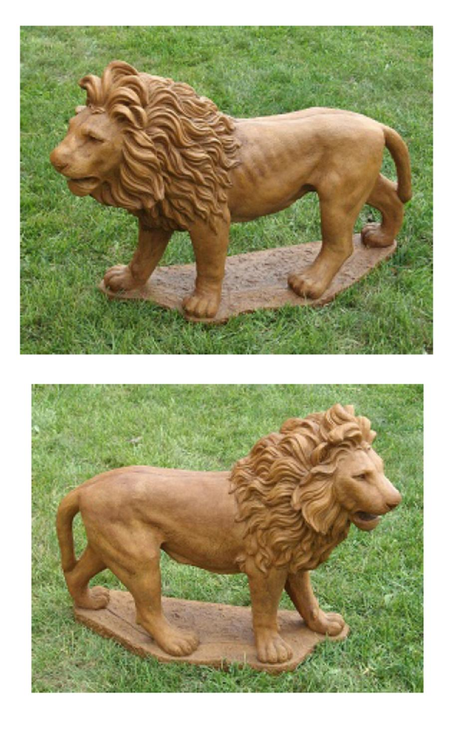 Set of 2 Majestic Lion Cast Stone Concrete Outdoor Garden Statues by Continental Craft