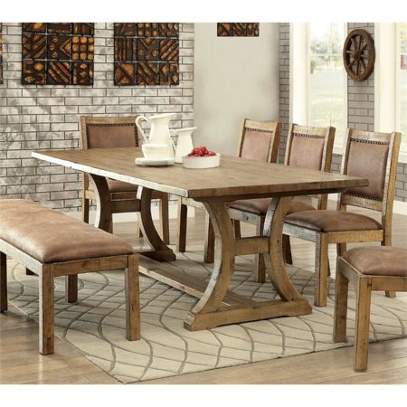 Furniture of america quillis dining table in rustic pine for Furniture of america replacement parts