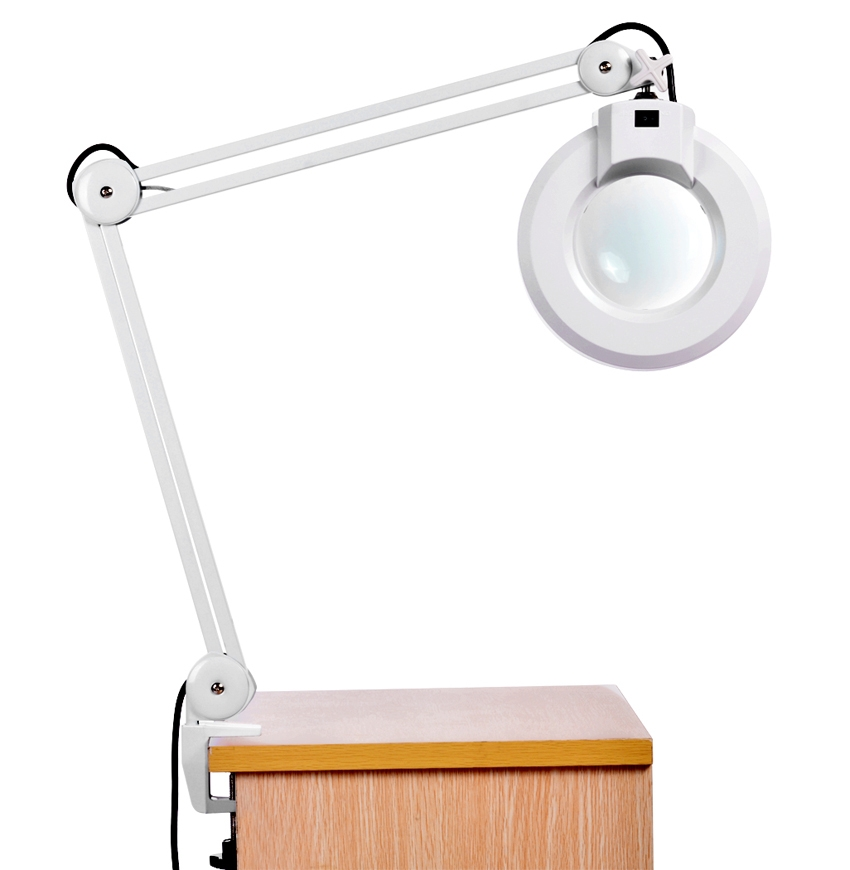 110V 8X Magnifying Lamp Desk Table Clamp Rolling Adjustable Lamp Light Magnifying Glass Len US Plug WCYE by