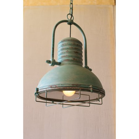- GwG Outlet Antique Turquoise Pendant Light with Glass and Wire Cage CLA1098