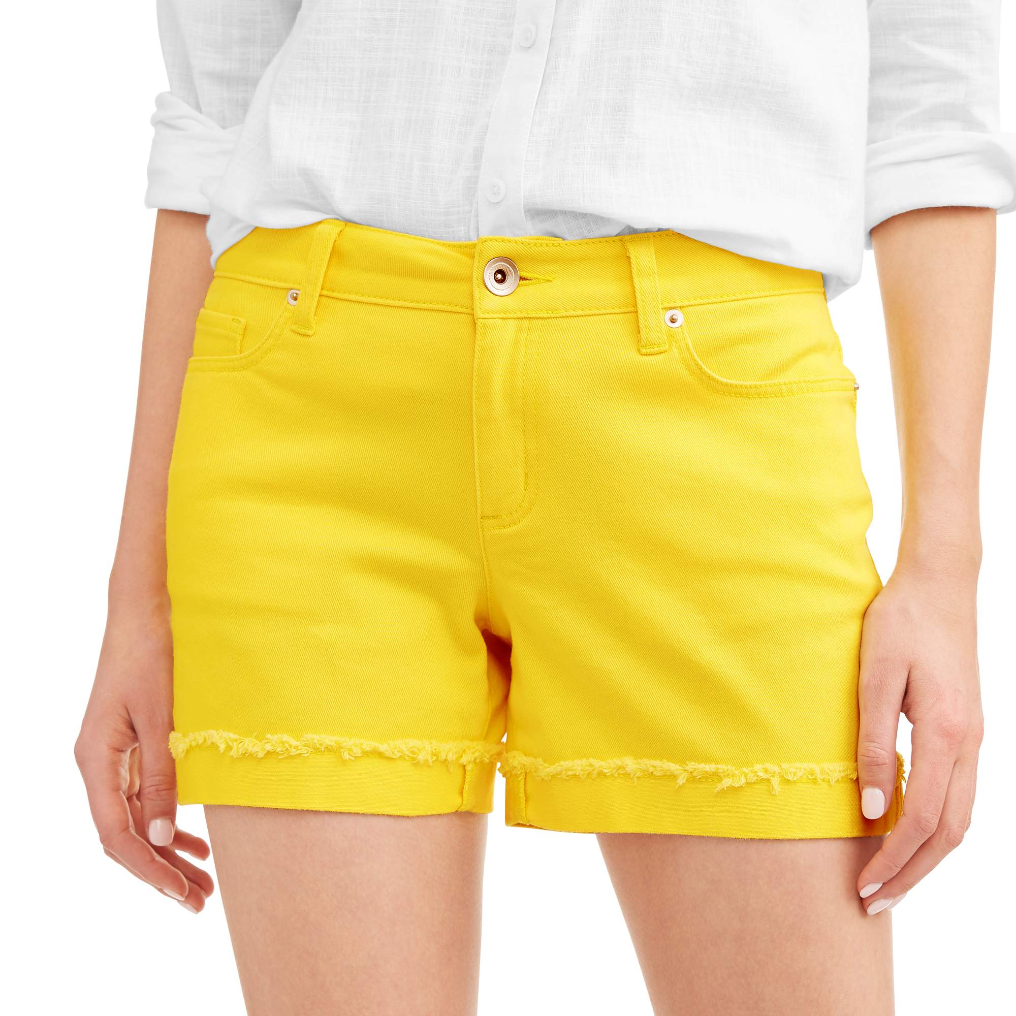 Women's Relaxed Twill Shorts with Cuff Detail