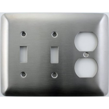Mulberry Princess Style Satin Stainless Steel 2 Gang Switch Plate - 2 Toggle Light Switch Opening 1 Duplex Outlet (Hole 2 Gang Aluminum Outlet)