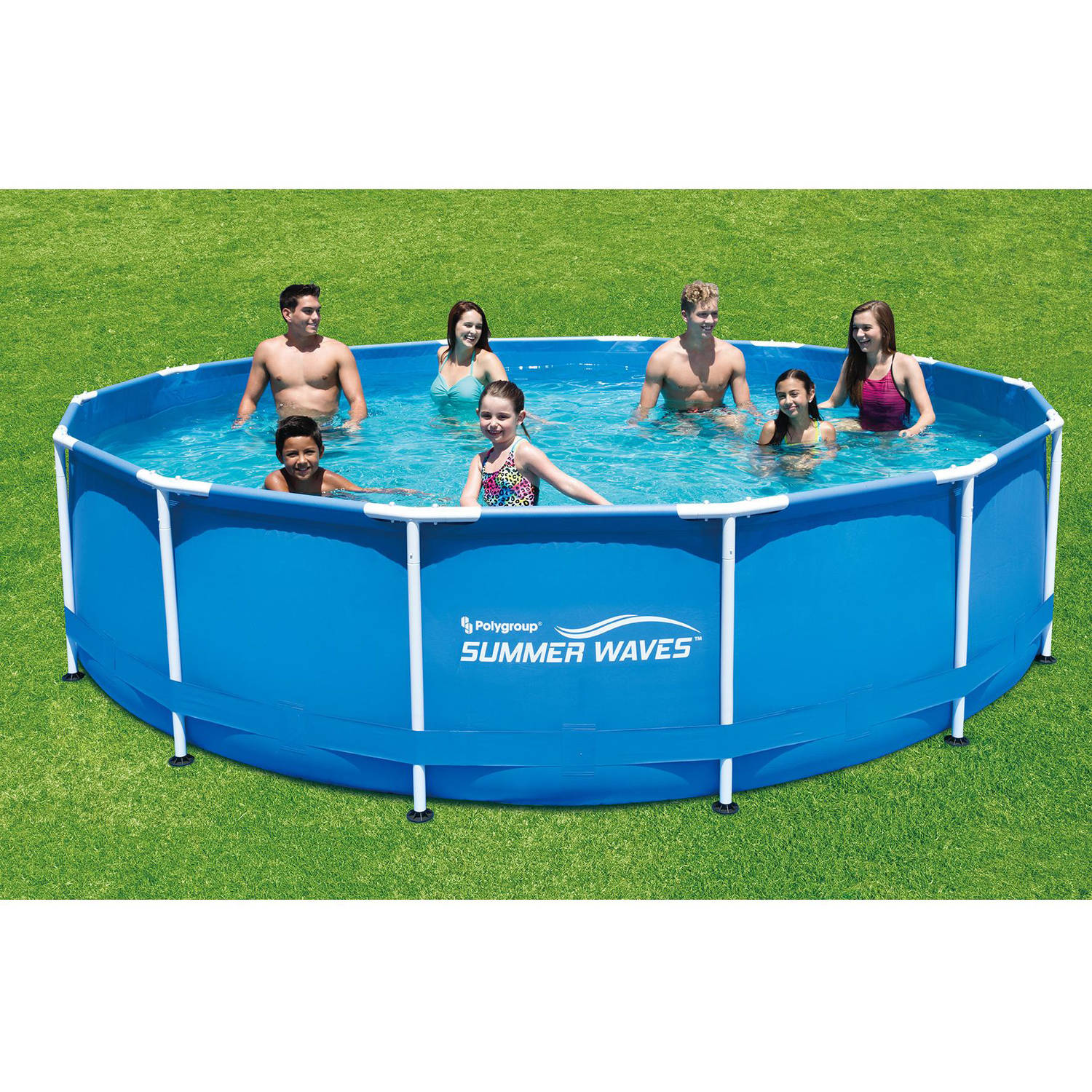 summer waves 15 x 48 round metal frame above ground swimming pool with deluxe accessory set walmartcom