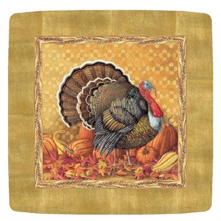 Fall Thanksgiving Salad-Dessert Plates 8ct Caspari 11600SP Harvest Turkey (Fall Plates)
