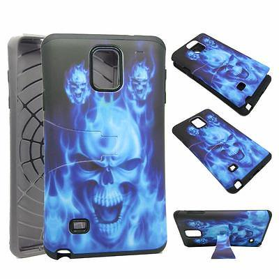 - For Samsung Galaxy Note 4 N9100 Hybrid Drop Protective Shock Proof Shock Absorb Enhanced Bumper Dual Layer Designer Case Shield Box Blue Devil Case Cover Kickstand