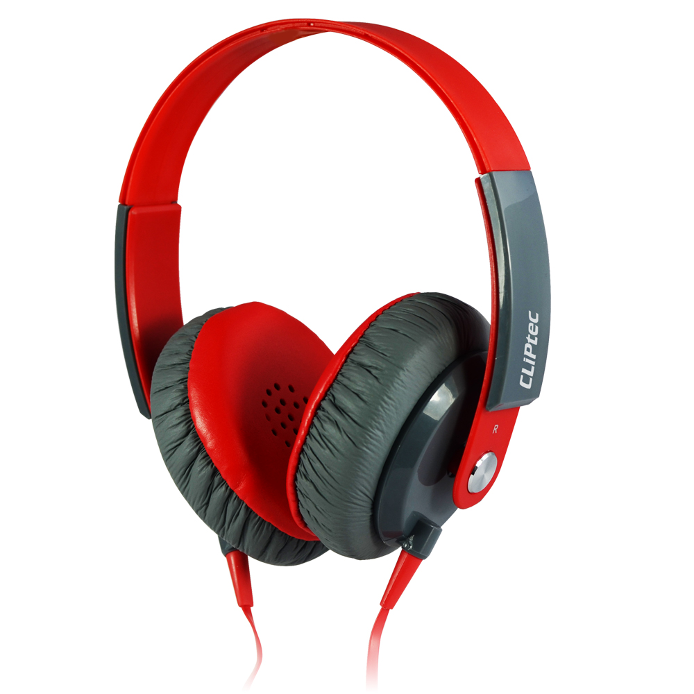 Cliptec Red Urban Clubz Muisc Stereo Multimedia Wired Volume Control Headset Earphone On Ear Headphone w/ Micphone 3.5mm Audio Jack