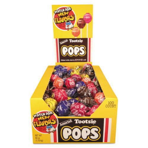 Tootsie Roll Industries 1014965 Tootsie Pops, 0.76 Oz, Assorted Flavors, 100/box
