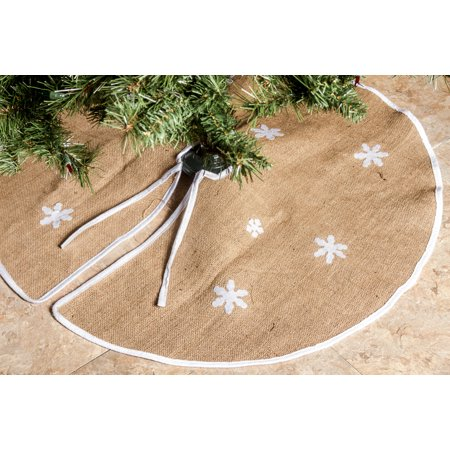 barnyard rustic burlap christmas tree skirt 36 tree skirts snowflakes. Black Bedroom Furniture Sets. Home Design Ideas