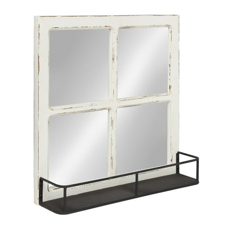 Kate and Laurel Jackson Distressed Wood Windowpane Mirror with Metal Shelf, White ()