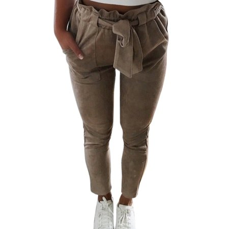 Women Casual Harem High Waist Pencil Cropped Pants Elastic Bow-knot OL Trousers Stripe Drawstring Slim Skinny Trouser