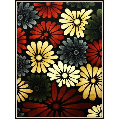 Red Barrel Studio Rayan Flower Yellow Black Area Rug
