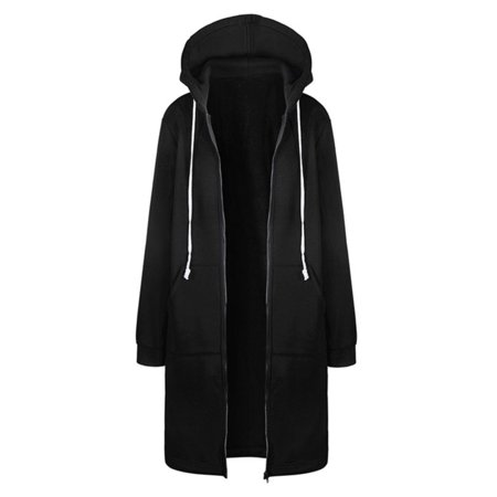 Women Winter Plus Size Long Hoodie Coat Warm Hooded Jacket Zip Parka