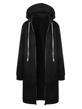 Women Winter Plus Size Long Hoodie Coat Warm Hooded Jacket Zip Parka Overcoats