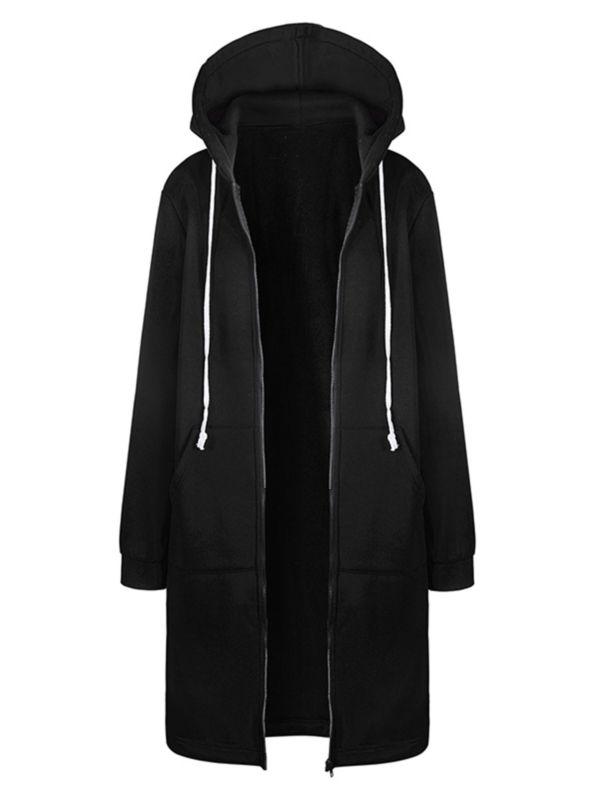 Plus Size Womens Hooded Long Zip Jacket Coat Winter Casual Hoodie Outwear Jumper