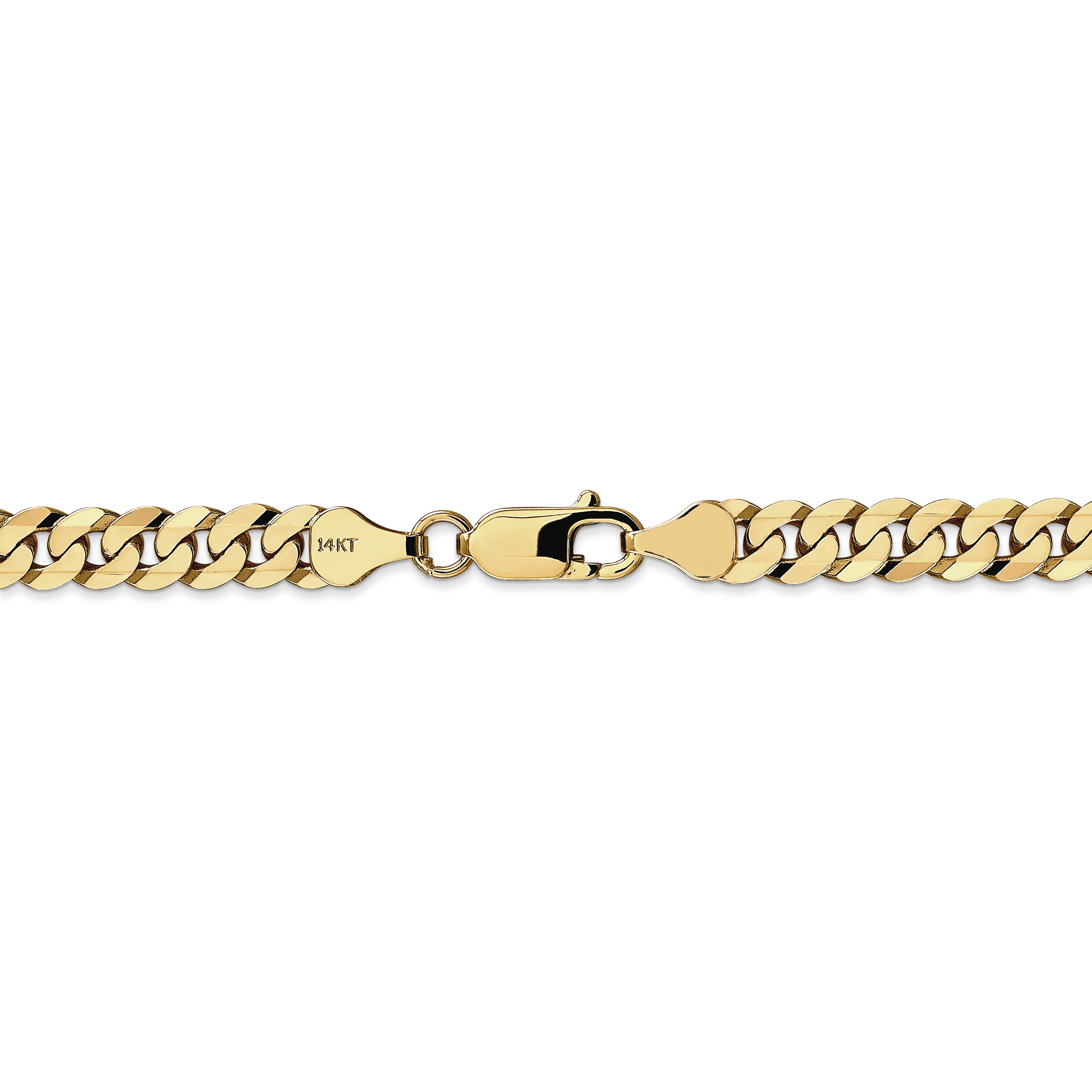 14k Yellow Gold 6.25mm Beveled Link Curb Chain Anklet Ankle Beach Bracelet 7 Inch : Fine Jewelry Gifts For Women For Her - image 3 de 4