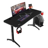 Walnew 55 Inch Y-Shape Frame Gaming Desk Modern Style Racing Desk With Full Piece Of Mouse Pad, Cup Holder And Headphone Hook(Black)