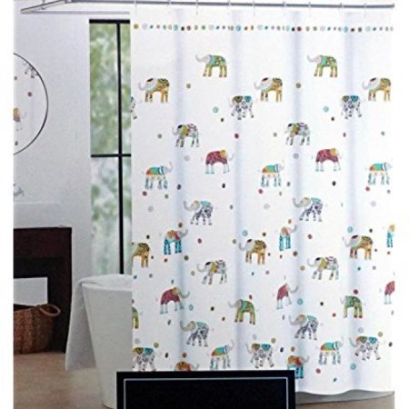 Cynthia Rowley Indian Elephant Fabric Shower Curtain 72 Inch By Orange Turquoise Green Blue Grey Purple White