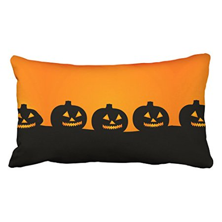 WinHome Vintage Fashion Happy Halloween Pumpkin Lanterns Simple Pattern Polyester 20 x 30 Inch Rectangle Throw Pillow Covers With Hidden Zipper Home Sofa Cushion Decorative Pillowcases - Happy Halloween Pumpkin Patterns
