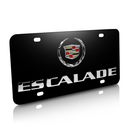 Cadillac Escalade 3D Logo Black Stainless Steel License Plate