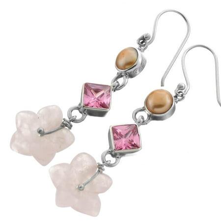 Rose Quartz Flower Pink CZ Freshwater Cultured Pearl 925 Sterling Silver Earrings, 1 5/8