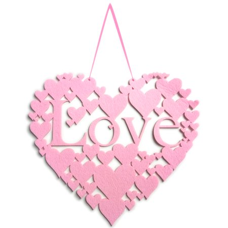 Non-woven Wall Hanging Decoration Handmade Signs Heart Shape Door Ornaments Plaque Hanger for Valentine Holiday Gift