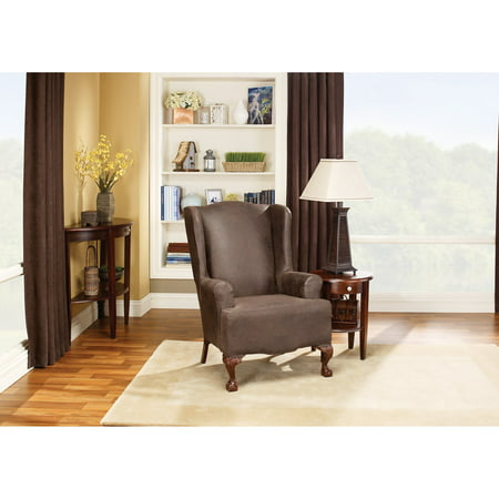 Fine Sure Fit Stretch Leather Wing Chair Slipcover Brown Gmtry Best Dining Table And Chair Ideas Images Gmtryco