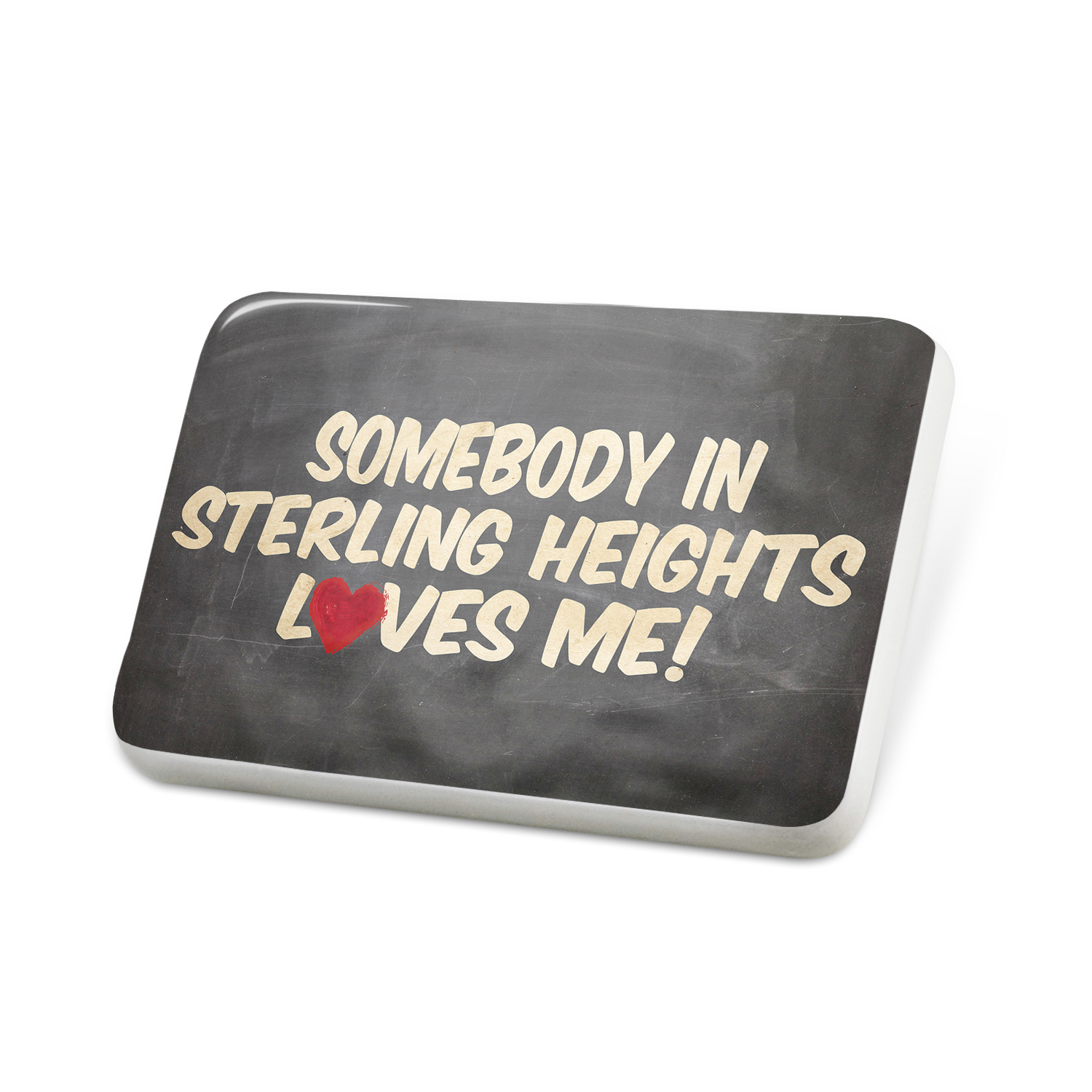 Porcelein Pin Somebody in Sterling Heights Loves me, Michigan Lapel Badge – NEONBLOND