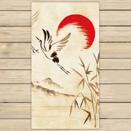 YKCG Flying Storks Sunset Hills Landscape Asian Traditional Ink Painting Hand Towel Beach Towels Bath Shower Towel Bath Wrap For Home Outdoor Travel Use 30x56 inches
