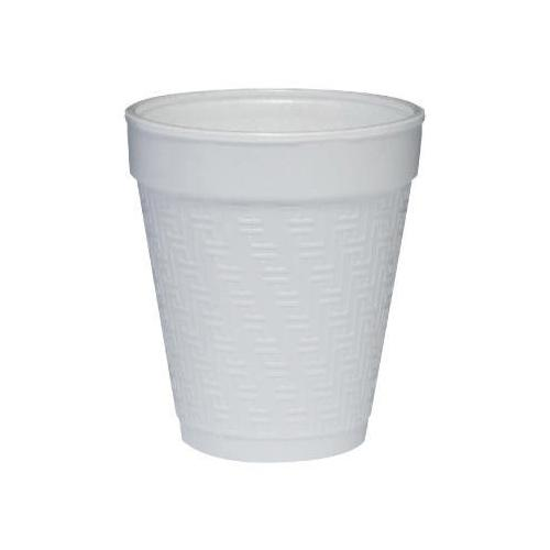 Dart Small Foam Drink Cup, 8 Oz., Hot/cold, White W/embossed Greek Key Design...