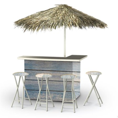 Best of Times 2003W2400P Blue Wood Horizontal Palapa Portable Bar with 6 ft. Square (Bent Bar)
