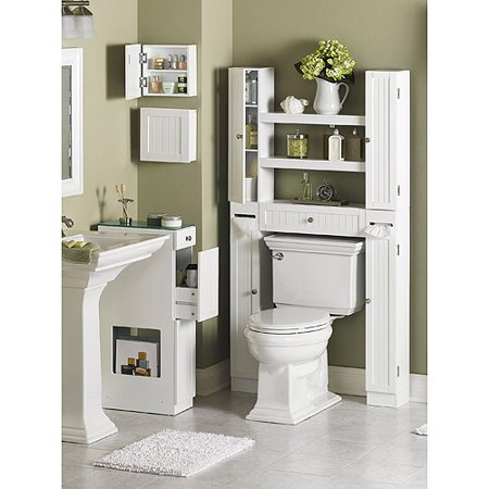 Homz Country Over the Toilet Space-Saver Etagere, White - Walmart.com