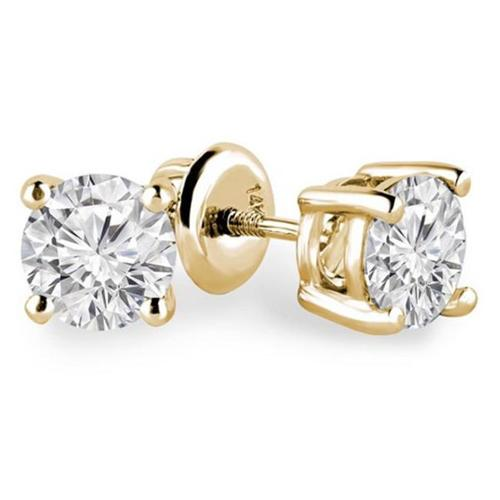 Majesty Diamonds Solitaire Round Diamond Stud Earrings in 14K Yellow Gold With Screw Backs, 0. 2 Carat
