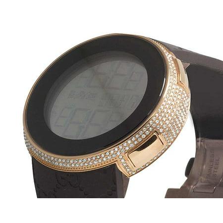 0378fd3a51d Gucci I-Gucci Digital Rose Case on Brown PVD Diamond Watch 4.0 Ct YA114209