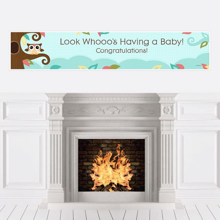 Owl - Look Whooo's Having A Baby - Baby Shower Decorations Party Banner