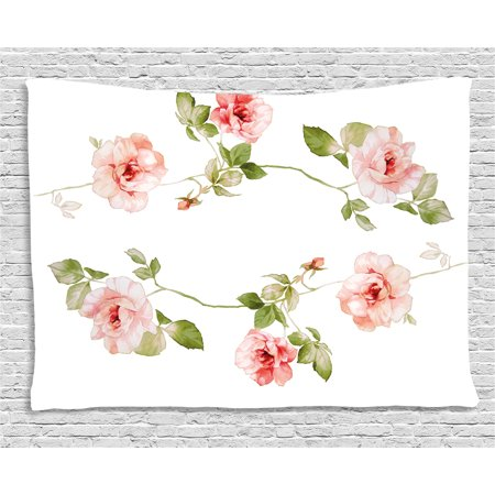 Floral Tapestry, Romantic Rose Flower Petals Shabby Chic Kitsch Love Blooms Design, Wall Hanging for Bedroom Living Room Dorm Decor, 80W X 60L Inches, Reseda Green Peach Coral, by Ambesonne