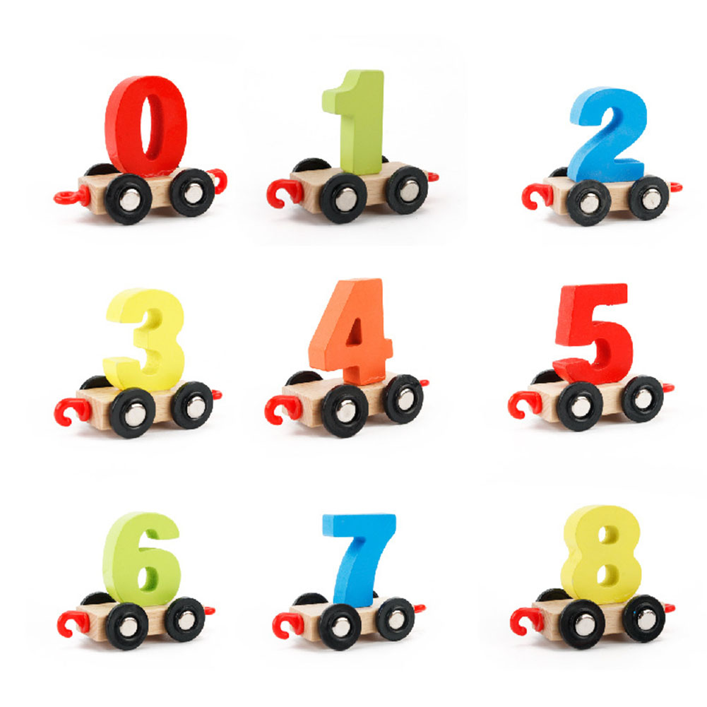 Wooden Digital Geometric Matching Blocks Colorful Small Train Educational String Toy Xmas Gift for Kids Color:Digital train - image 3 de 5