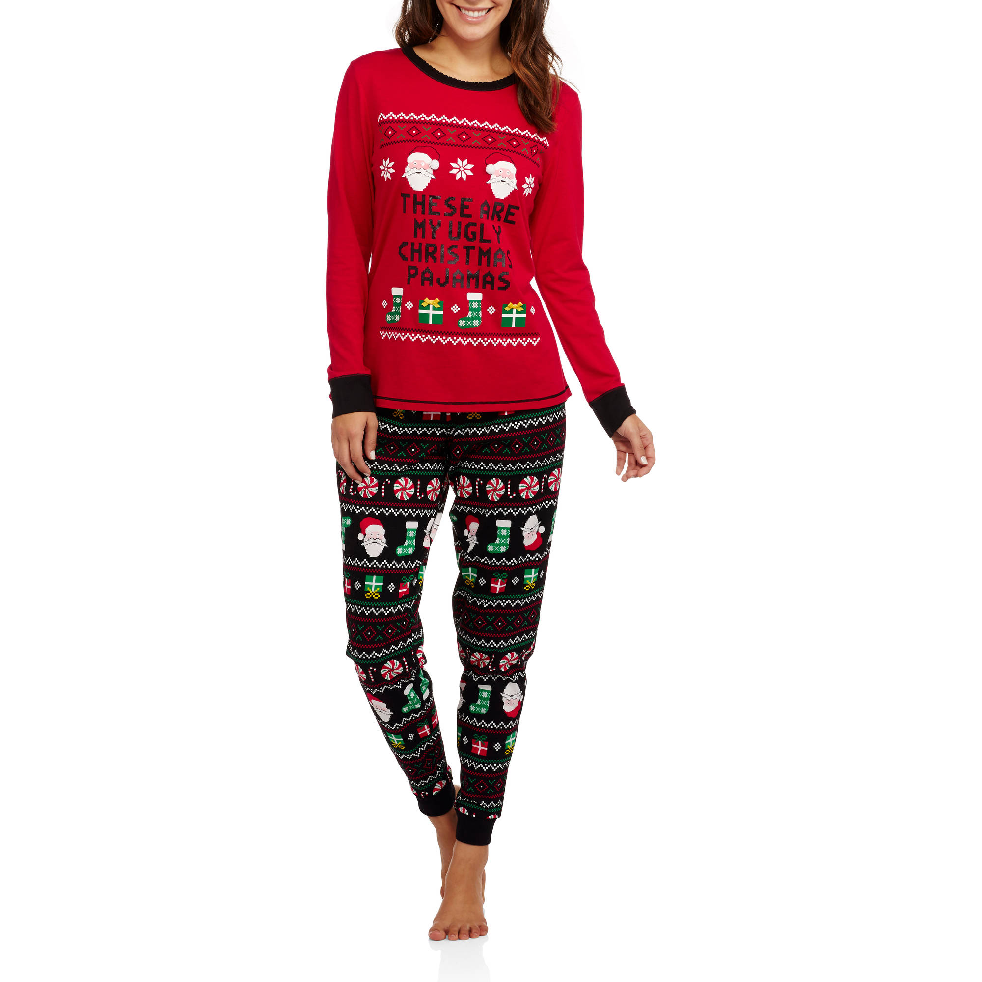 Secret Treasures Women's Christmas Pajamas - Long Sleeve Knit ...